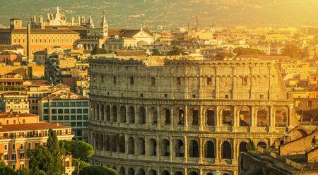Rome Italy and Colosseum Cityscape. Popular European Destination. Italian Ancient Architecture.