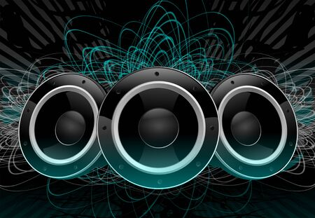 Graphic Design Of Green And Black Three Disco Speakers Suspended In Dark Space. Archivio Fotografico