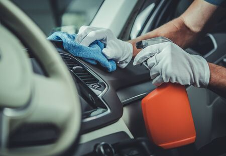 Transportation Industry. Car Interior Cleaning and Maintenance Using Specialized Cleaning and Sanitizing Detergents.