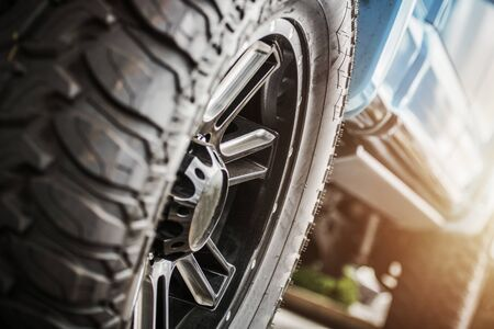 Performance Off Roading Theme. Deep Tread of Off Road Tires to Provide More Traction on Unpaved Surfaces.