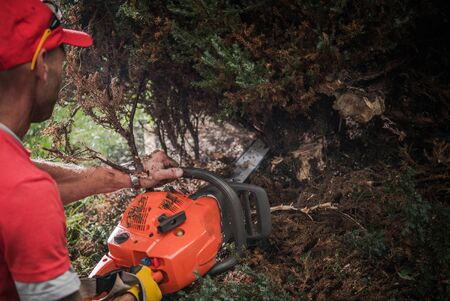 Gasoline Power Tool Job. Caucasian Men with Professional Chainsaw Cutting Out Bushes. 스톡 콘텐츠 - 147922994