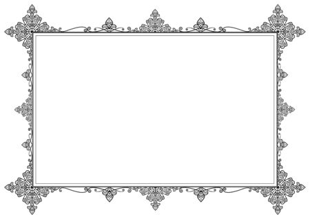 Stylish Horizontal Frame Ornament in Black and White. Center Copy Space.  Imagens