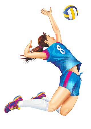 Female Professional Volleyball Player Jump Isolated on White Detailed Illustration. Team Sports Theme.
