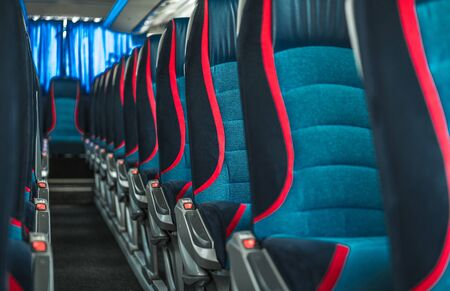 International Bus Coach Two Rows of Seats. Transportation Industry.