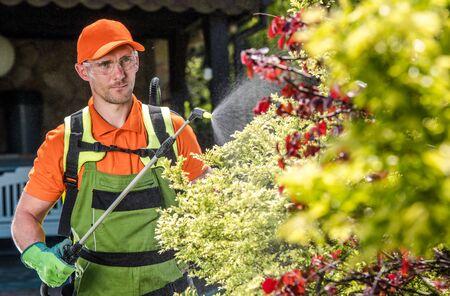 Professional Caucasian Gardener Insecticide Garden Trees. Landscaping Business Worker.