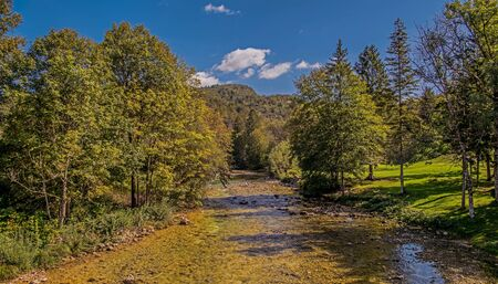 Peaceful And Relaxing Scenery With River Hills And Trees In Slovenia Countryside.
