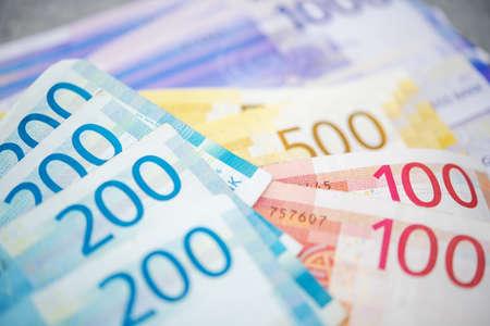 Norwegian Economy Theme. Colorful Norwegian Krones Banknotes on a Table. Cash Money. Reklamní fotografie