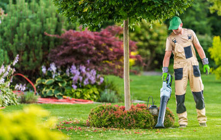Caucasian Men in His 40s with Modern Electric Cordless Leaf Blower Cleaning His Backyard Garden. Imagens