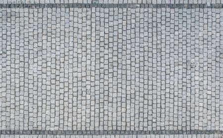 Granite Bricks Driveway Aerial View. Brick Blocks Pattern Background.