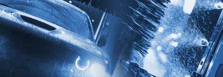 Dark Blue Car Washing Banner Concept. Car Inside Automatic Brush Washer. Imagens