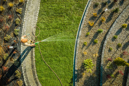 Gardening and Landscaping Industry Theme. Caucasian Garden Worker in His 40s Watering New Natural Grass In Newly Developed Residential Garden. Aerial View. Imagens