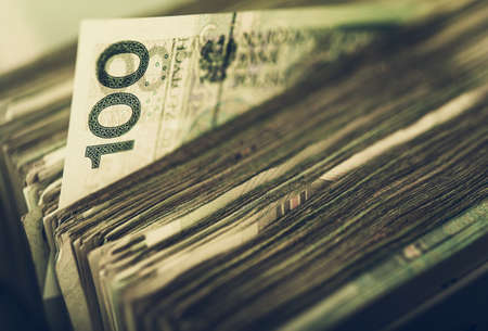 Business and Economy Theme. Republic of Poland Currency Pile of One Hundred Zloty Banknotes