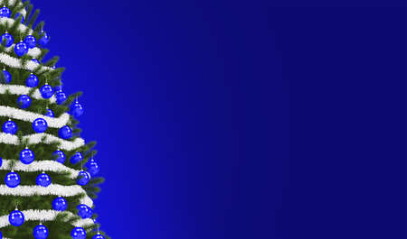 Holiday Time Blue Banner Background. Christmas Tree with Blue Ornaments and Right Side Copy Space.