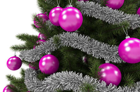 Holiday Time Christmas Tree Pink Ornaments Close Up 3D Rendered Illustration Isolated on Solid White Background.