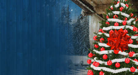 Christmas Season Greetings Banner with Copy Space. Christmas Tree with Red and Silver Ornaments, Wooden Cabin and Planks Background. Left Side Copy.