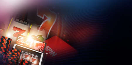 Black and Red Casino Slot Machines Game Plays Concept Banner with Right Side Copy Space Area. One Handed Bandit Las Vegas Gambling Theme.