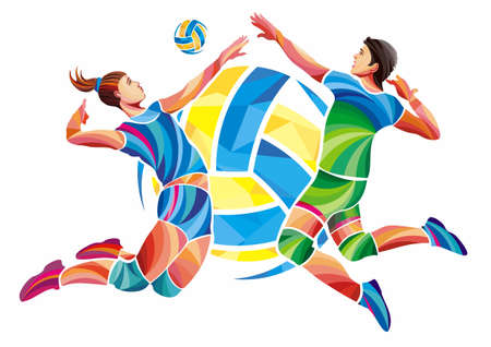 Men and Woman Players Volleyball Concept Illustration Isolated on White