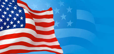 3D Rendered United States of America Flag Banner with Blue Background and Right Side Copy Space. Patriotic Backdrop Illustration.