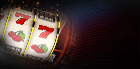 Abstract 3D Rendered Illustration of Motion Blur Slot Machine Casino Banner Background. One Handed Bandit Drum Spin. Dark Right Side Copy Space.