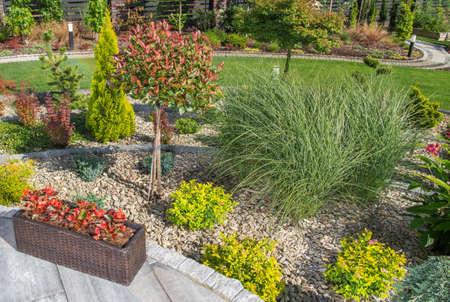 Beautiful Summer Time Large Backyard Garden. Gardening and Landscaping Design Theme. Reklamní fotografie