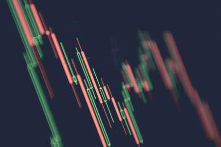 Business and Economy Theme. Trading Cryptocurrencies. Stock Market Candles Chart on Computer Display Close Up.