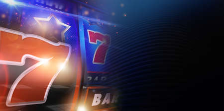 Dark Conceptual Slot Machine Gambling Banner Background. Las Vegas One Handed Bandit Theme with Right Side Copy Space.