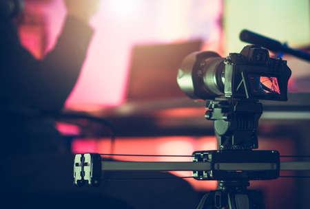 Digital SLR Video Camera Moving on a Slider. Taking Interior Footage Using Modern Filming Video Devices. Reklamní fotografie