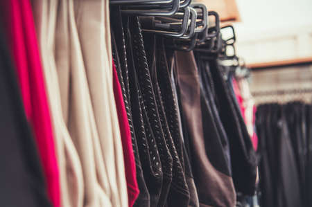 Selection of Woman Clothes Hanging on a Store Rack. Retail Business Theme.