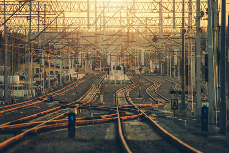 Modern Railroad Infrastructure. Multiple Railroad Tracks and Switches. Lesser Poland, Europe.