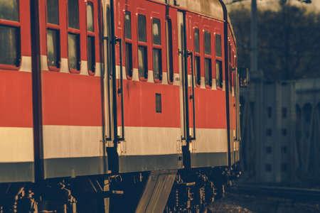 Lesser Poland Intercity Train on a Railroad Track Curve Telephoto Close Up.