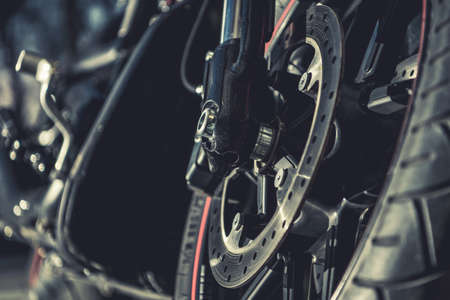 Ventilated Disc Brake Motorcycle Front Wheel Brake. Riding Safety Systems. Фото со стока