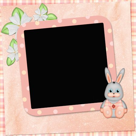 Framework for photo or congratulation with bunny photo