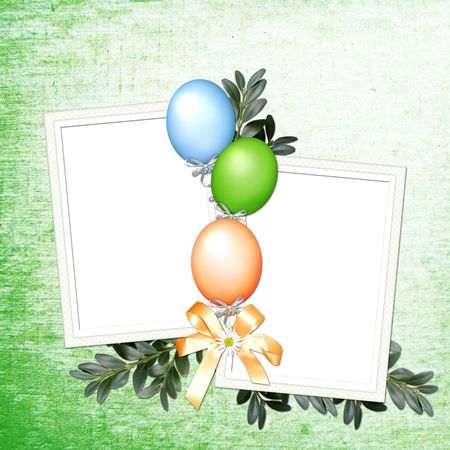 double page: green background with balloons