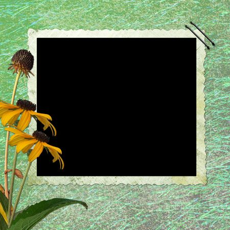 Floral abstract background  with frame  photo