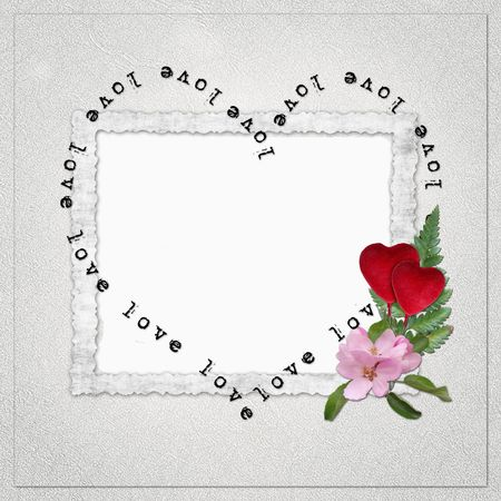 Background with frame and heart photo