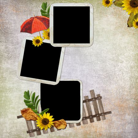 the album announcement: Abstract background with frame and flowers  Stock Photo