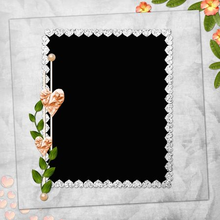 Abstract background with frame and flowers  Reklamní fotografie