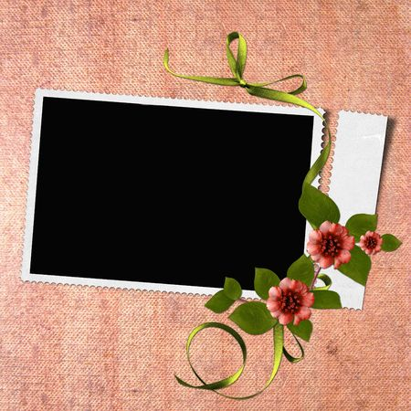 Framework for photo or congratulation with flowers  photo