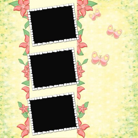 Childrens framework for a photo with butterfly photo