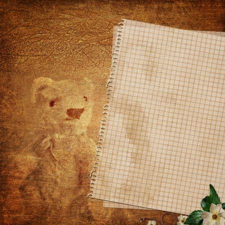 scrapbook cover: papel de la nota en blanco sobre fondo de textura Foto de archivo