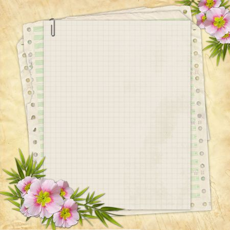 the album announcement: Grunge paper design for information in scrapbooking style  Stock Photo