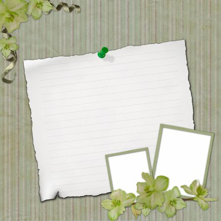 Grunge paper design for information in scrapbooking style  photo