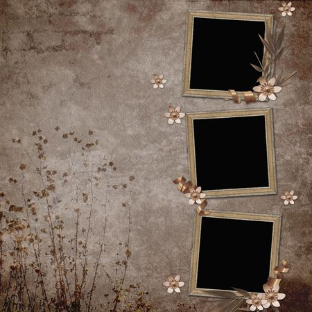 Vintage Background with frames and flowers Stock Photo - 6757723