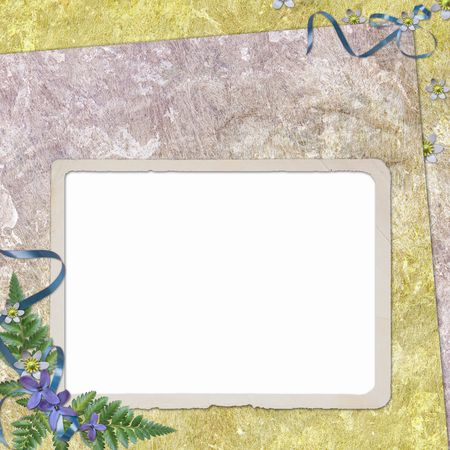 mauve: Framework for photo or congratulation with bunch of flowers Stock Photo