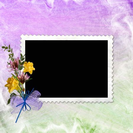 mauve: Framework for photo or congratulation with bunch of flowers.