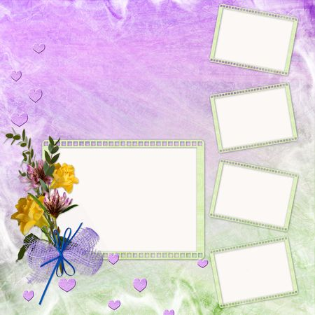 Abstract background with frame and flowers  Stock Photo - 6825520