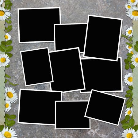 background with frame and flowers Stock Photo - 6825740