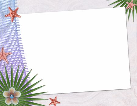 Beach postcard with sea shell and star fish