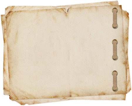 stitched: old paper on white background