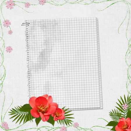 checkerboard backdrop: Grunge paper design for information in scrap-booking style